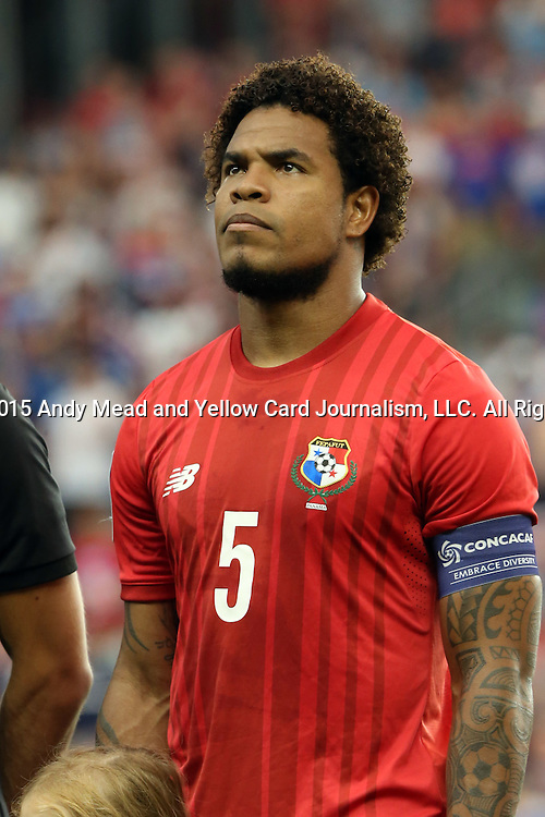 13 July 2015: Roman Torres (PAN). The United States Men's National Team played the Panama Men's National Team at Sporting Park in Kansas City, Kansas in a 2015 CONCACAF Gold Cup Group A match.