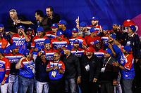 Premiacion de los Criollos de Caguas de Puerto Rico con el bi campeón de Serie del Caribe, al ganar 9 carreras por 4 a  Águilas Cibaeñas  de Republica Dominicana en estadio Panamericano en Guadalajara, México, jueves 8 feb 2018.  (Foto: /Luis Gutierrez)