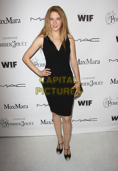 RACHELLE LEFEVRE.3rd Annual Women In Film Pre-Oscar Party held At A Private Residence, Bel Air, California, USA..March 4th, 2010.full length black dress sleeveless clutch bag peep toe t-bar shoes  grey gray clutch bag hand on hip.CAP/ADM/KB.©Kevan Brooks/AdMedia/Capital Pictures.