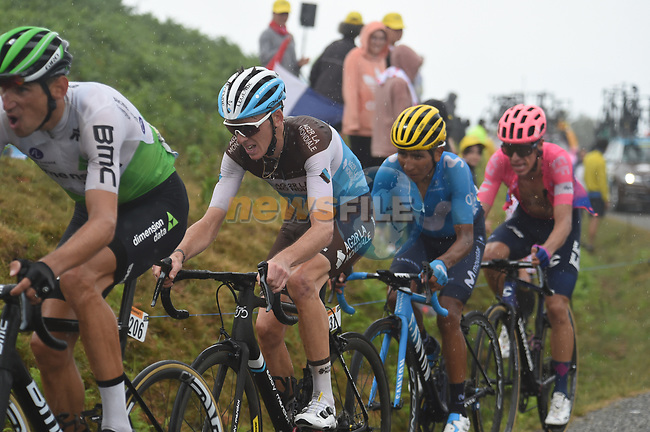Roman Kreuziger (CZE) Dimension Data, Romain Bardet (FRA) AG2R La Mondiale, Nairo Quintana (COL) Movistar Team and Rigoberto Uran (COl) EF Education First all lose time on the approach to the finish on Prat d'Albis during Stage 15 of the 2019 Tour de France running 185km from Limoux to Foix Prat d'Albis, France. 20th July 2019.<br /> Picture: Colin Flockton   Cyclefile<br /> All photos usage must carry mandatory copyright credit (© Cyclefile   Colin Flockton)