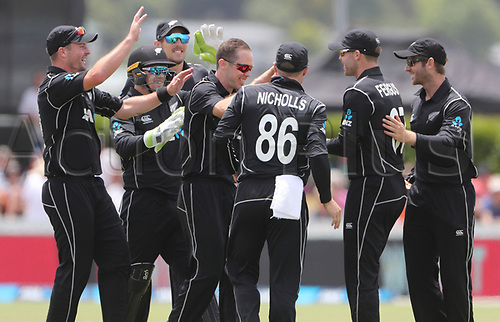20th December, 2017, Whangarei, New Zealand;  20th December, 2017, Whangarei, New Zealand;  New Zealand's Todd Astle celebrates his first wicket. New Zealand Black Caps versusersus West Indies, first One Day International cricket, Cobham Oval, Whangarei, New Zealand. Wednesday, 20 December, 2017.