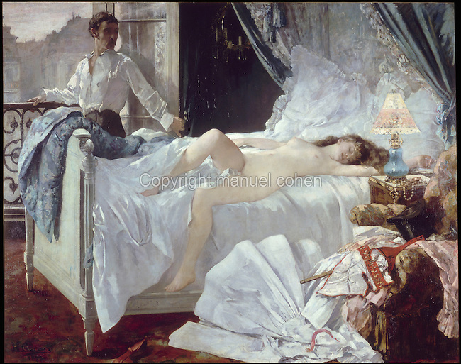 Rolla, 1878, oil on canvas, by Henri Gervex, 1852-1929, from the collection of the Musee des Beaux Arts, Bordeaux, France. The painting is based on a poem by Alfred de Musset, and was rejected by the Salon for immorality, as the woman in the painting is a prostitute. Picture by Manuel Cohen