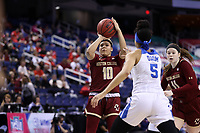 GREENSBORO, NC - MARCH 06: Makayla Dickens #10 of Boston College shoots the ball during a game between Boston College and Duke at Greensboro Coliseum on March 06, 2020 in Greensboro, North Carolina.