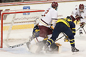 Rasmus Tirronen (Merrimack - 32), Alex Tuch (BC - 12), Quinn Gould (Merrimack - 10) - The Boston College Eagles defeated the visiting Merrimack College Warriors 2-1 on Wednesday, January 21, 2015, at Kelley Rink in Conte Forum in Chestnut Hill, Massachusetts.