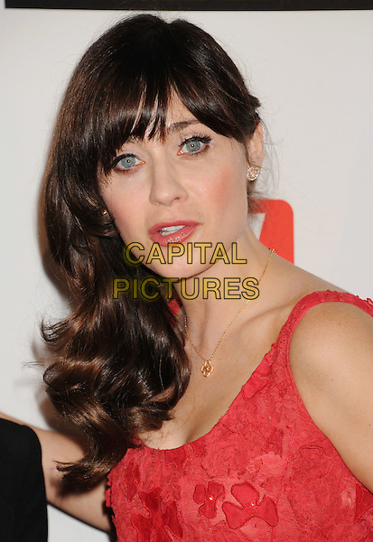 Zooey Deschanel.The 2nd Annual Critics' Choice Television Awards held at The Beverly Hilton in Beverly Hills, California, USA..June 18th, 2012.headshot portrait mouth open red lace fringe bangs hair.CAP/ROT/TM.©Tony Michaels/Roth Stock/Capital Pictures