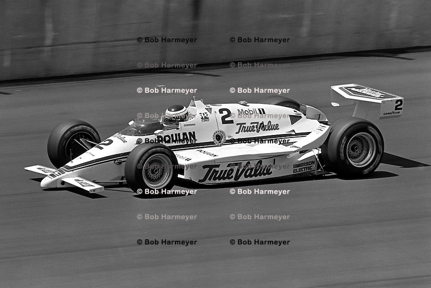 BROOKLYN, MI - AUGUST 2: Roberto Guerrero drives the Dan Cotter March 86C/Cosworth during the Michigan 500 CART Indy Car race at the Michigan International Speedway near Brooklyn, Michigan, on August 2, 1986.