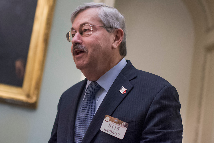 UNITED STATES - APRIL 6: Iowa Gov. Terry Branstad makes his way through the Capitol's Ohio Clock Corridor, April 6, 2017. (Photo By Tom Williams/CQ Roll Call)