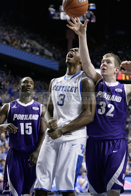Terrence Jones yells after battling to the basket for a lay-up against Portland at Rupp Arena on Saturday, Nov. 26, 2011. Photo by Scott Hannigan   Staff