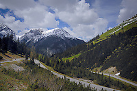 View of road through the valley off the Hahntennjoch pass. Imst district, Tyrol, Tirol, Austria.