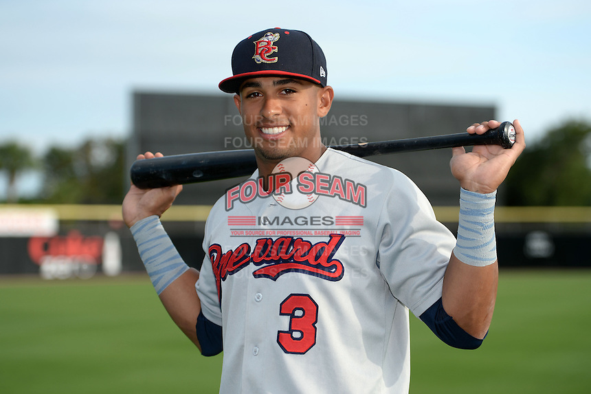Brevard County Manatees second baseman Chris McFarland (3) poses for a photo before a game against the Dunedin Blue Jays on April 23, 2015 at Florida Auto Exchange Stadium in Dunedin, Florida.  Brevard County defeated Dunedin 10-6.  (Mike Janes/Four Seam Images)