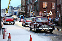 Pictured: 1950s American vintage cars on set. Tuesday 11 February 2014<br />