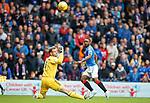 06.10.2019 Rangers v Hamilton: Jermain Defoe scores the first goal past Owain Fon Williams