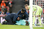 FC Barcelona's Samuel Umtiti injured in presence of Marc-Andre Ter Stegen during Spanish Kings Cup match. January 05,2017. (ALTERPHOTOS/Acero)
