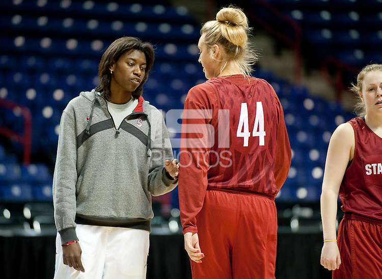 SPOKANE, WA - MARCH 27, 2011: Coach Bobbie Kelsey during the off-day pratice session, Stanford Women's Basketball, NCAA West Regionals on March 27, 2011.