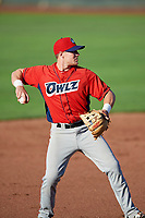 Richard Fecteau (22) of the Orem Owlz on defense against the Ogden Raptors in Pioneer League action at Lindquist Field on June 21, 2017 in Ogden, Utah. The Owlz defeated the Raptors 16-5. This was Opening Night at home for the Raptors.  (Stephen Smith/Four Seam Images)