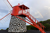 WQ50073-D. Windmill at Ponta Rosa in San Joao on Pico Island, with rainbow behind. This was restored to preserve the memory of the traditional windmills used for milling grain. Pico Island, Azores, Portugal, Atlantic Ocean.<br /> Photo Copyright © Brandon Cole. All rights reserved worldwide.  www.brandoncole.com