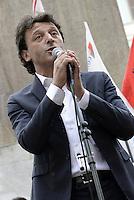 Roma, 20 Maggio 2015<br /> Luca Pastorino, candidato alla presidenza della regione Liguria<br /> Protesta in Piazza Montecitorio  contro il DDL scuola in discussione alla Camera