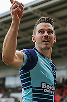 Matthew Bloomfield of Wycombe Wanderers celebrates after he scores the opening goal of the game during the Sky Bet League 2 match between Doncaster Rovers and Wycombe Wanderers at the Keepmoat Stadium, Doncaster, England on 29 October 2016. Photo by David Horn.