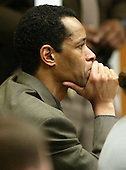 Sniper suspect John Allen Muhammad reacts to the testimony of Reverend Albert Archer during court proceedings in Virginia Beach Circuit Court in Virginia Beach, Virginia on November 7, 2003. <br /> Credit: Tracy Woodward - Pool via CNP