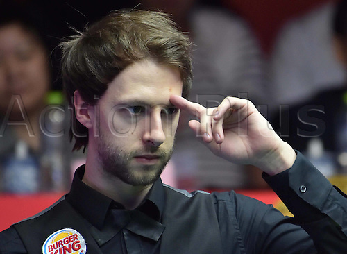 03.04.2016. Beijing, China.  Judd Trump of England gestures during the final of the 2016 World Snooker China Open Tournament against his compatriot Ricky Walden in Beijing,  China, April 3, 2016. Judd Trump won 10-4.