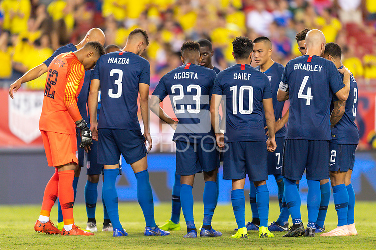 Tampa, FL - Thursday, October 11, 2018: USMNT, Team Huddle during a USMNT match against Colombia.  Colombia defeated the USMNT 4-2.