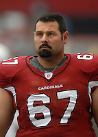 Aug 18, 2007; Glendale, AZ, USA; Arizona Cardinals guard Brad Badger (67) against the Houston Texans at University of Phoenix Stadium. Mandatory Credit: Mark J. Rebilas-US PRESSWIRE Copyright © 2007 Mark J. Rebilas