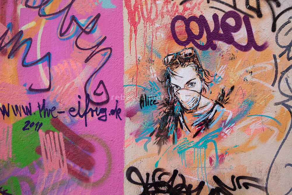 Graffiti art in the Cours Julien district of Marseille, France, 04 February 2013