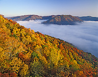 Autum color and valley of fog, Pine Mountain State Resort Park, Pineville, Kentucky