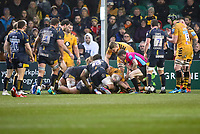 25th January 2020; Sixways Stadium, Worcester, Worcestershire, England; Premiership Rugby, Worcester Warriors versus Wasps; Referee looks close to see if Worcester Warriors had scored