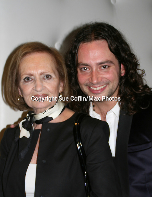 """Bold and the Beautiful's and American Idol Constantine Maroulis stars as """"Drew"""" in Broadway's Rock of Ages and poses with his mom Constance on opening night on October 16, 2008 at the New World Stages Theatre with curtain call and the after party at Marquee, New York City, New York. (Photo by Sue Coflin/Max Photos)"""