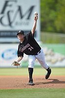 Kannapolis Intimidators starting pitcher Parker Rigler (31) in action against the Hagerstown Suns at Kannapolis Intimidators Stadium on May 6, 2018 in Kannapolis, North Carolina. The Intimidators defeated the Suns 4-3. (Brian Westerholt/Four Seam Images)