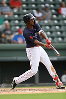 Right fielder Marino Campana (23) of the Greenville Drive bats in Game 1 of a doubleheader against the Hickory Crawdads on Wednesday, July 25, 2018, at Fluor Field at the West End in Greenville, South Carolina. Greenville won, 4-1. (Tom Priddy/Four Seam Images)