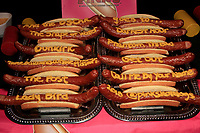 LOS ANGELES - MAR 1:  Pink hot dogs, nominated movies on hot dogs at the 15TH Awards Media Welcome Center at Hollywood Museum on March 1, 2018 in Los Angeles, CA