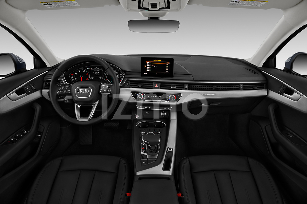 Stock photo of straight dashboard view of a 2018 Audi A4 allroad quattro base 5 Door Wagon