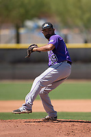 Colorado Rockies relief pitcher Rico Garcia (39) delivers a pitch to the plate during an Extended Spring Training game against the San Diego Padres at Peoria Sports Complex on March 30, 2018 in Peoria, Arizona. (Zachary Lucy/Four Seam Images)