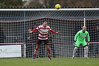 Tom Kavanagh of Kingstonian heads away during Kingstonian vs Lewes, BetVictor League Premier Division Football at King George's Field on 16th November 2019