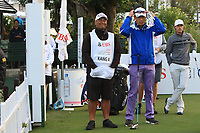 Jason Jacob caddy with Anthony Kang (USA) on the 1st tee during Round 1 of the UBS Hong Kong Open, at Hong Kong golf club, Fanling, Hong Kong. 23/11/2017<br /> Picture: Golffile | Thos Caffrey<br /> <br /> <br /> All photo usage must carry mandatory copyright credit     (&copy; Golffile | Thos Caffrey)
