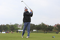 Mark Williams (AM) playing with Paul Dunne (IRL) on the 10th tee during the Pro-Am of the Betfred British Masters 2019 at Hillside Golf Club, Southport, Lancashire, England. 08/05/19<br /> <br /> Picture: Thos Caffrey / Golffile<br /> <br /> All photos usage must carry mandatory copyright credit (&copy; Golffile | Thos Caffrey)