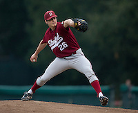 STANFORD, CA - January 28, 2011: Mark Appel of the Stanford baseball team pitches during Stanford's season opening practice at Klein Field at Sunken Diamond.