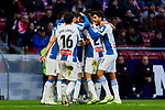 Players of RCD Espanyol celebrate goal during La Liga match between Atletico de Madrid and RCD Espanyol at Wanda Metropolitano Stadium in Madrid, Spain. November 10, 2019. (ALTERPHOTOS/A. Perez Meca)