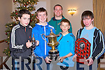 KERINS O'RAHILLYS: Member's of the Kerins O'Rahillys U13 team who also played for the Kerry Primary School team with their trainer Declan Quill at their awards night at the Strand Road clubhouse, Tralee on Thursday l-r: Tom Hoare, Shane Foley, Declan Quill, Rory O'Connor and Gearoid Savage...