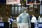12 February 2017: Duke's Lindsay Sapienza during Saber. The Duke University Blue Devils hosted the Boston College Eagles at Card Gym in Durham, North Carolina in a 2017 College Women's Fencing match. Duke won the dual match 19-8 overall, 6-3 Foil, 5-4 Epee, and 8-1 Saber.