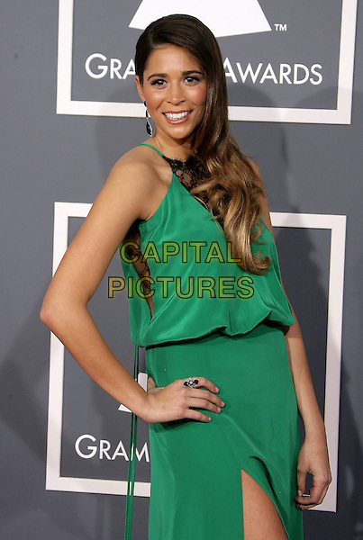 Ali Tamposi.The 55th Annual GRAMMY Awards held at STAPLES Center, Los Angeles, California, USA..February 10th, 2013.grammys half length green dress hand on hip.CAP/ADM.©AdMedia/Capital Pictures.