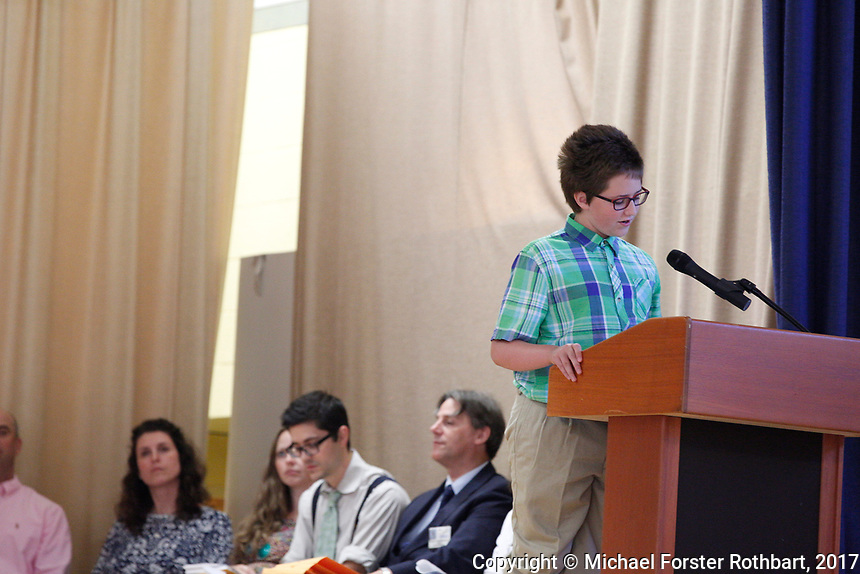The Oneonta Greater Plains elementary school fifth grade awards ceremony, on June 21, 2017.<br /> &copy; Michael Forster Rothbart Photography<br /> www.mfrphoto.org &bull; 607-267-4893<br /> 34 Spruce St, Oneonta, NY 13820<br /> 86 Three Mile Pond Rd, Vassalboro, ME 04989<br /> info@mfrphoto.org<br /> Photo by: Michael Forster Rothbart<br /> Date:  6/21/2017<br /> File#:  Canon &mdash; Canon EOS 5D Mark III digital camera frame C19101