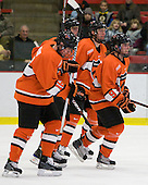 The Tigers celebrate Dan Bartlett's (Princeton - 9) goal, his team-leading 13th of the season. - The Princeton University Tigers defeated the Harvard University Crimson 2-1 on Friday, January 29, 2010, at Bright Hockey Center in Cambridge, Massachusetts.