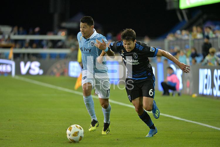 San Jose, CA - Saturday September 15, 2018: Roger Espinoza, Shea Salinas during a Major League Soccer (MLS) match between the San Jose Earthquakes and Sporting Kansas City at Avaya Stadium.