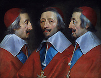 Phillippe de Champaigne:  Triple Portrait of the Head of Richelieu.   National Gallery--London.  Reference only.
