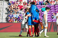 Orlando City, FL - Wednesday March 07, 2018: France celebrates a goal during a 2018 SheBelieves Cup match between the women's national teams of Germany (GER) and France (FRA) at Orlando City Stadium.