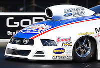 Jul. 26, 2013; Sonoma, CA, USA: Detailed view of the front end of the car of NHRA pro stock driver Larry Morgan during qualifying for the Sonoma Nationals at Sonoma Raceway. Mandatory Credit: Mark J. Rebilas-