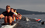 Rowing, Elite men's quad at the catch, ARCO Olympic Training Center, San Diego, California, USA,
